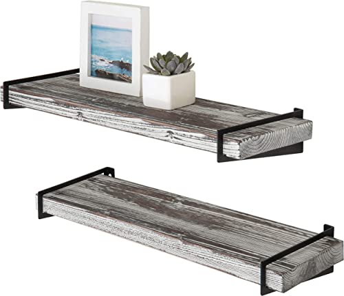 MyGift 24-Inch Rustic Torched Wood Floating Shelves with Black Metal Brackets, Set of 2