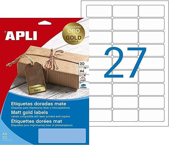 APLI 14887 - Etiquetas metalizadas oro 63,5 x 29,6 mm 20 hojas ...