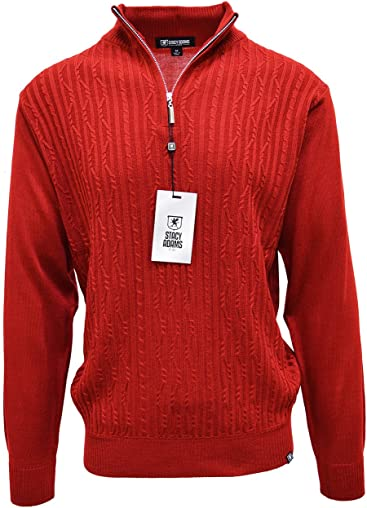 STACY ADAMS Mens Sweater, Solid Cable Knit Twist