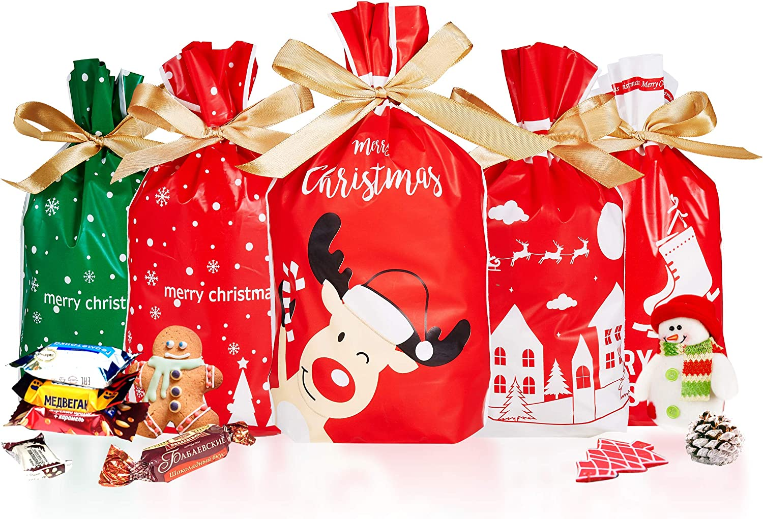 50 Pcs Christmas Candy Cookies Plastic Drawstring Gift Bags Merry Christmas Treat Bags for Birthday Party Snack Wrapping Wedding Gift Party Favor Merry X-mas