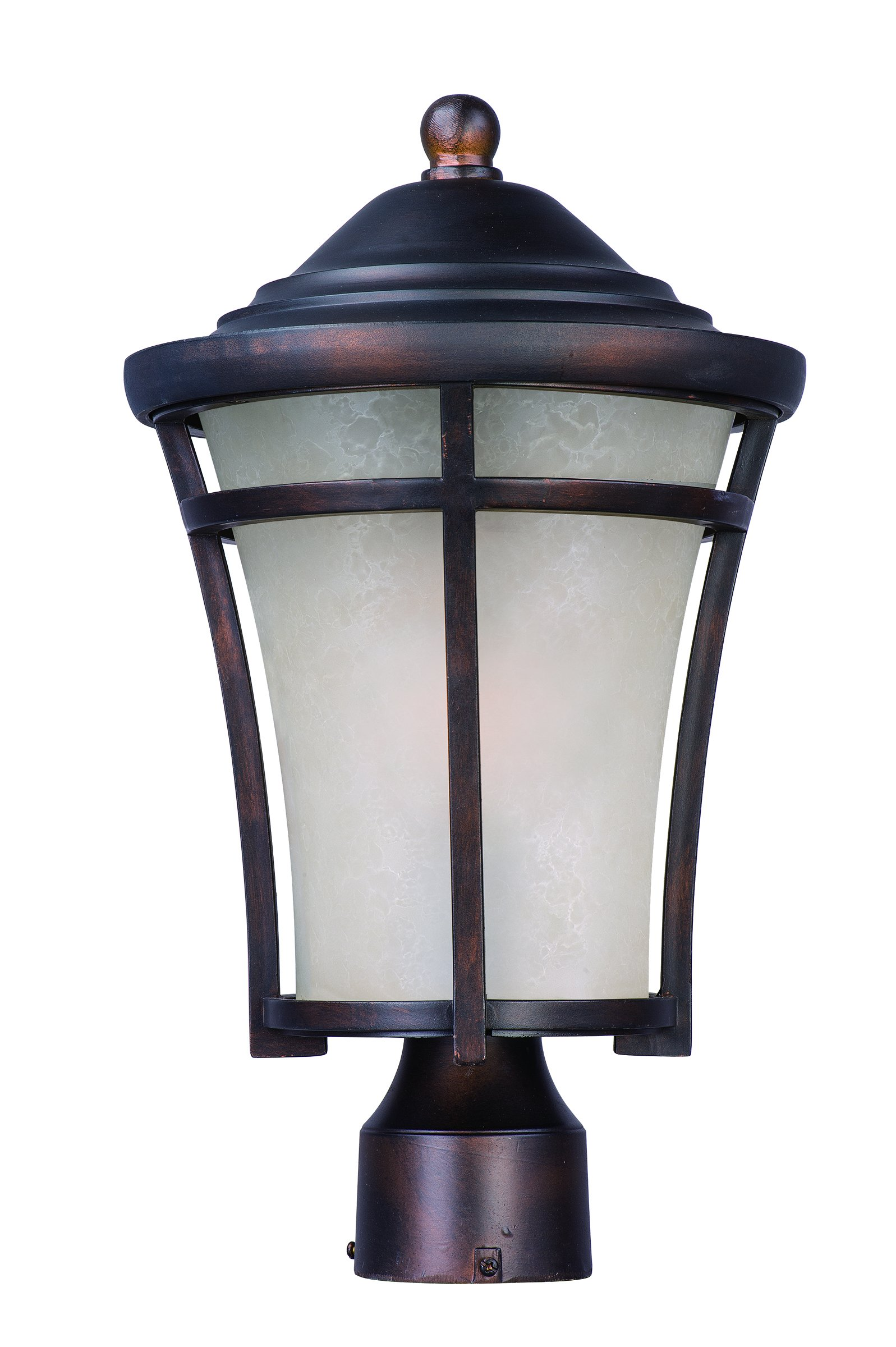 Maxim 85500LACO Balboa DC EE 1-Light Medium Outdoor Post, Copper Oxide Finish, Lace Glass, GU24 Fluorescent Fluorescent Bulb , 13W Max., Wet Safety Rating, 2700K Color Temp, Glass Shade Material, 1800 Rated Lumens