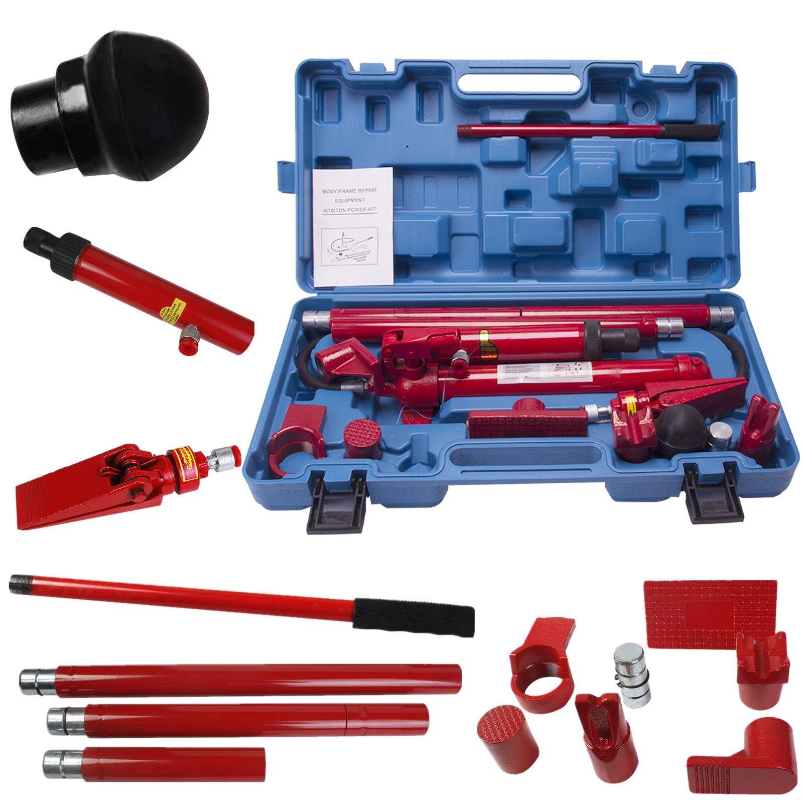 Comie 10 Ton Porta Power Hydraulic Jack Air Pump Lift Ram Body Frame Repair Kit Auto Shop Tool Heavy Set