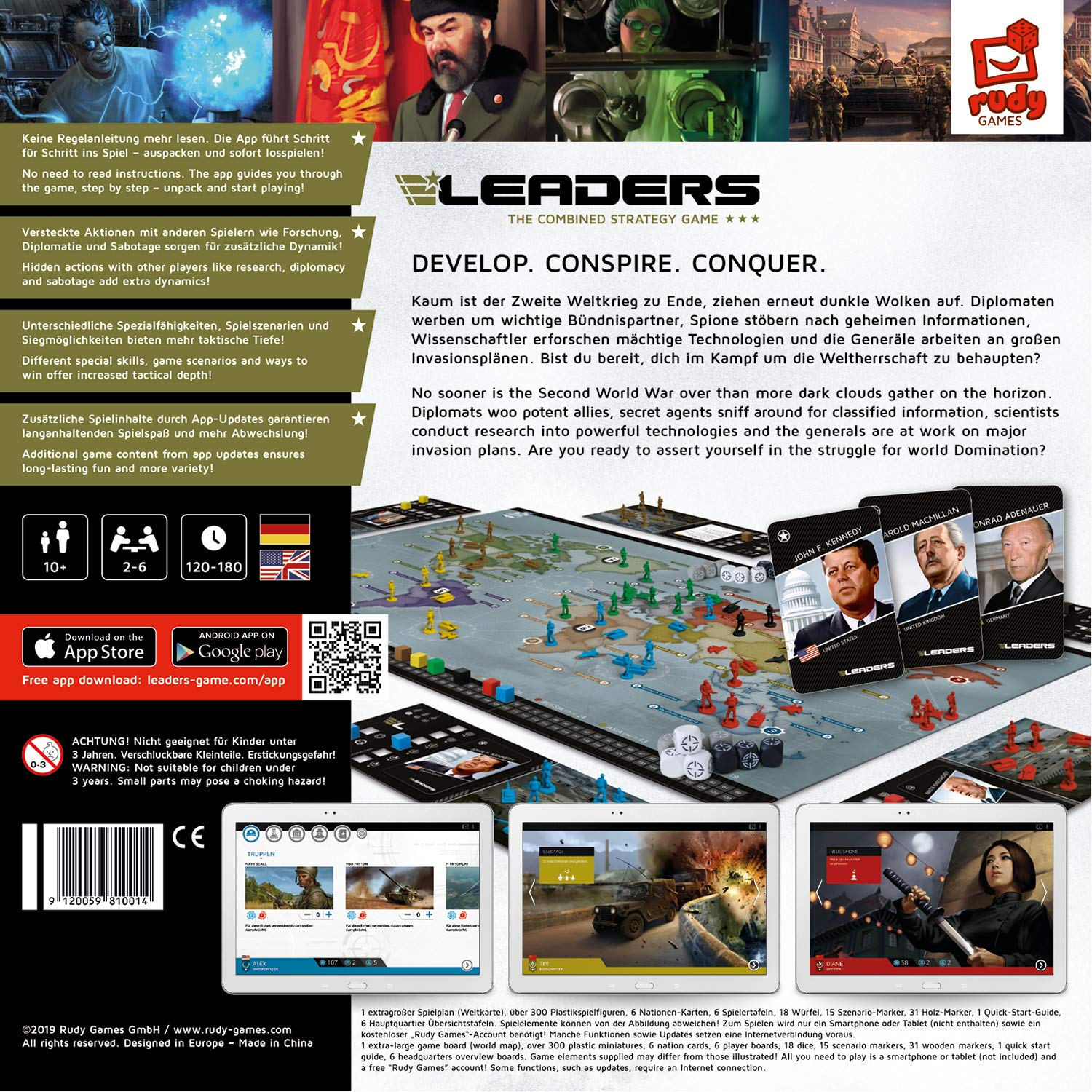 Rudy Games - Leaders 2019 - Interactive Cold War Strategy Board Game with App - for Children 10 Years and Up and Adults by Rudy Games (Image #1)