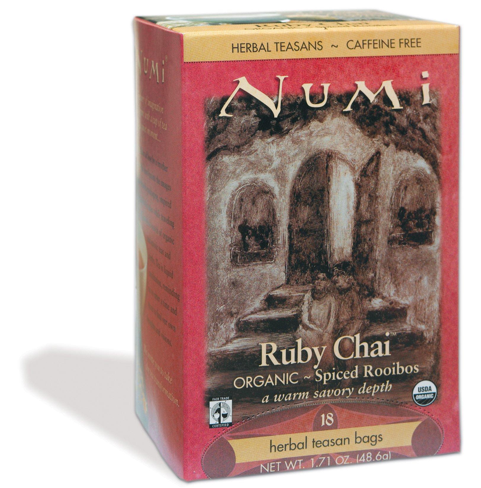 Numi Organic Tea Ruby Chai - Spiced Rooibos, Herbal Teasan in Teabags, 18-Count Box (Pack of 6) by Numi Organic Tea