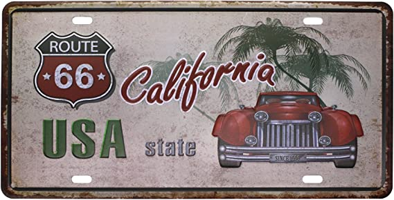 METAL WALL SIGN TIN PLAQUE ROUTE 66 LICENCE PLATE CHIC GARAGE USA US AMERICA