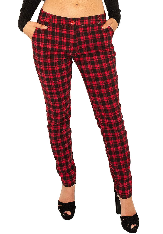 Pantalones Cuadros Estilo Slim Para Mujer Pantalon De Tartan Pitillo Rojo Y Negro Pantalones