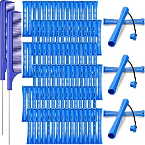 96 Pieces Hair Perm Rods, Cold Wave Rods Plastic Perming Rods Heatless Curlers Rollers with 2 Steel Pintail Comb Rat Tail Comb for Hairdressing Styling Tools (Blue, 0.35 Inch/ 0.9 cm)