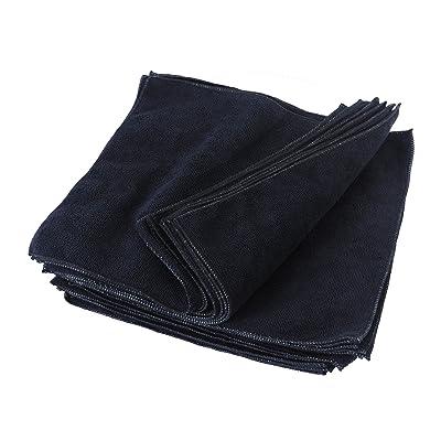 Eurow Microfiber Premium 12 x 12 350 GSM Cleaning Towels Black - 25 Pk: Automotive