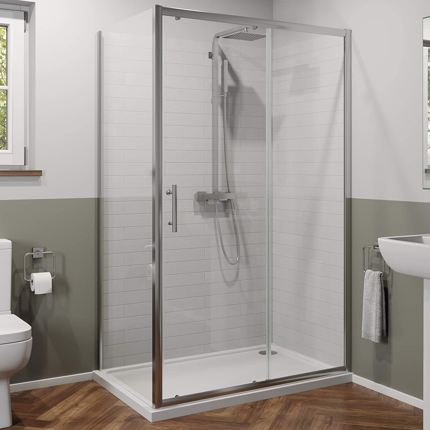 Twyford - Puerta de Ducha corredera y Panel Lateral para baño (1100 x 760 mm, Cristal endurecido, 6 mm): Amazon.es: Hogar