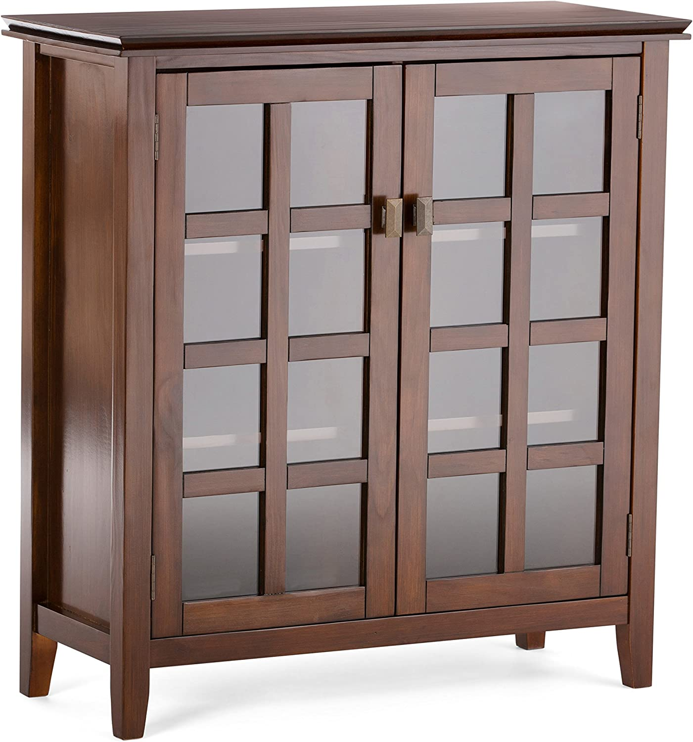 SIMPLIHOME Artisan SOLID WOOD 38 inch Wide Contemporary Medium Storage Cabinet in Russet Brown, with 2 tempered glass doors , 4 adjustable shelves