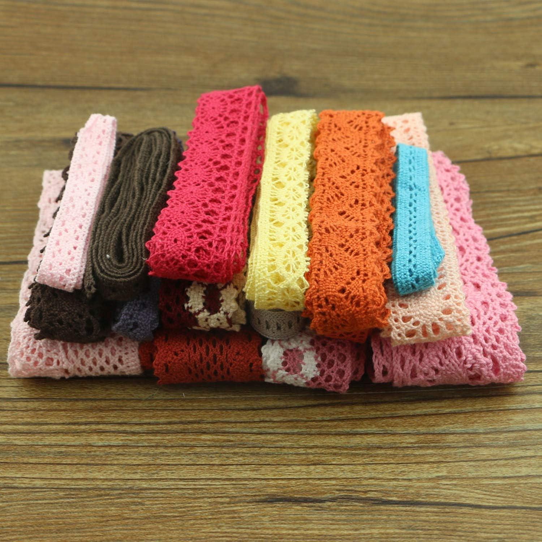 Lote de 10 yardas de colores de algodón encaje ropa costura tela ...
