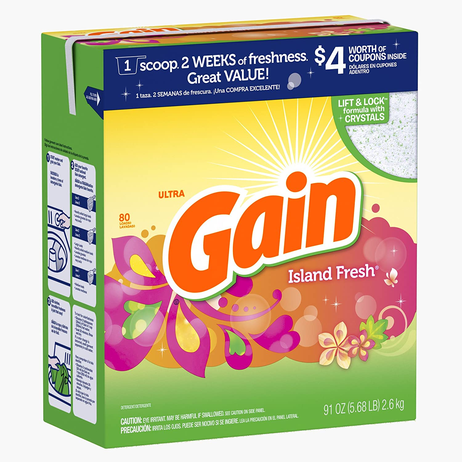 Gain Ultra with Freshlock Island Fresh Powder Detergent 80 Loads 91 Oz