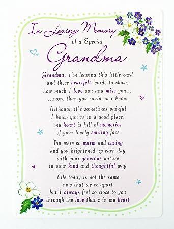 In Loving Memory Of A Special Grandma Family Grave Card Keepsake