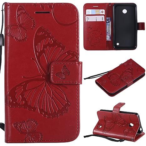 WindTeco Funda Nokia Lumia 635, Mariposa Patrón Funda Piel Libro Shock-Absorción Carcasa Cartera Flip Billetera con Soporte y Ranuras de Tarjeta para ...
