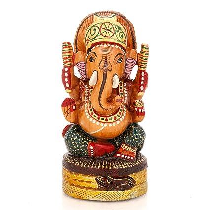 Amazon Com Craftvatika Wooden Ganesha Statue Of Ganesh Hand Carved