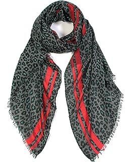Women Ladies Soft Fashion Short Square Scarves Orange Mix Leopard Design