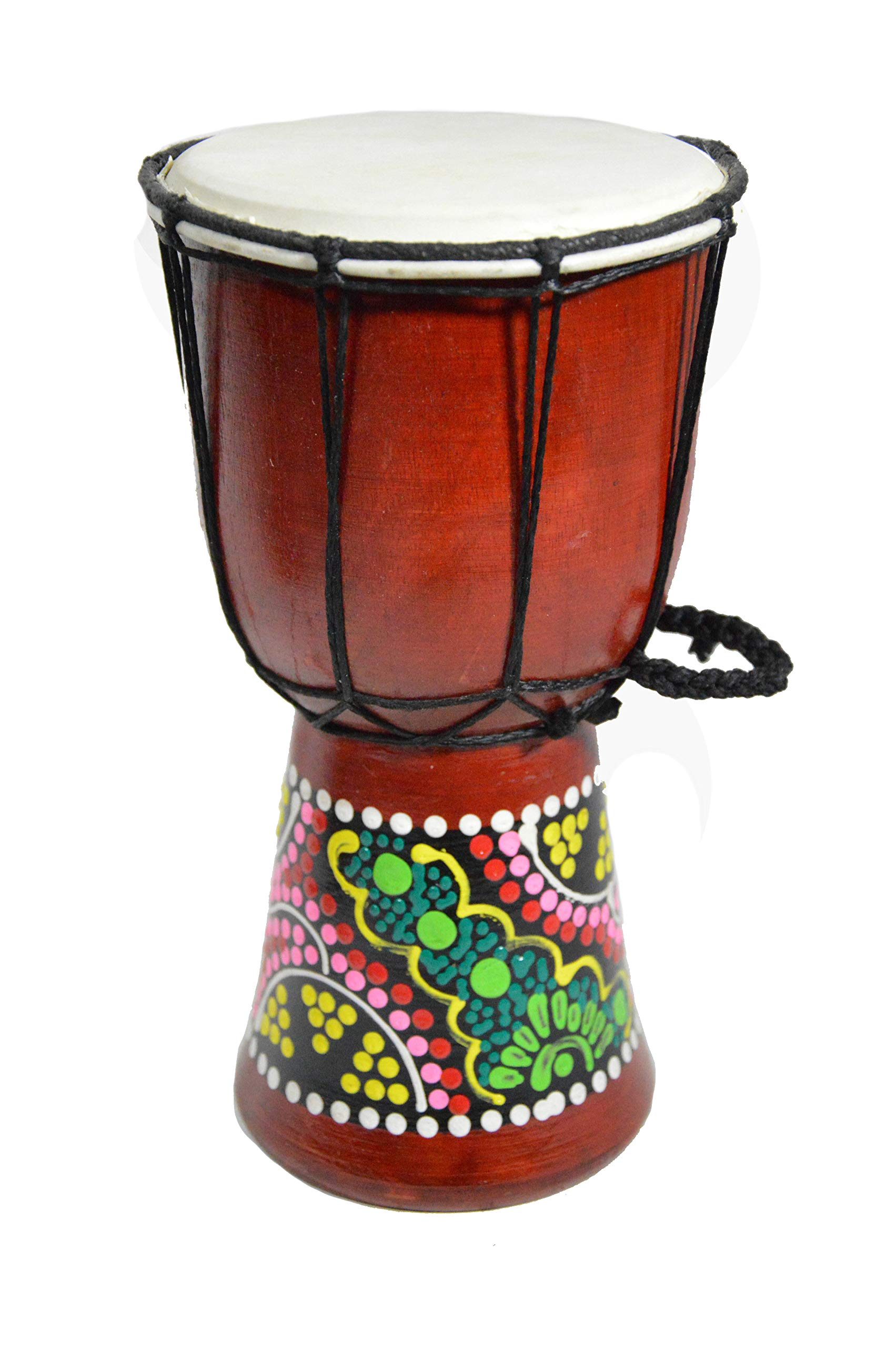 9.5'' DJEMBE DRUM BONGO HAND CARVED AFRICAN ABORIGINAL DOT ART DESIGN