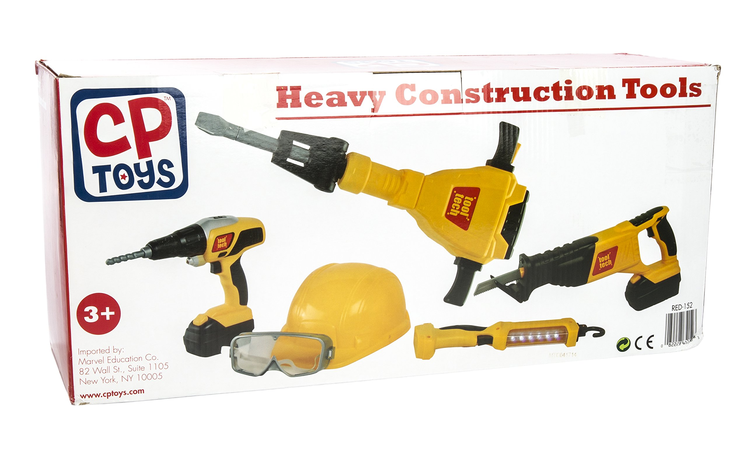 CP Toys 10 pc. Pretend Play Heavy Construction Tools with Realistic Sounds and Action
