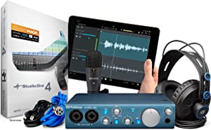 Presonus AudioBox iTwo USB 2.0 Recording Bundle with Interface, Headphones, Microphone and Studio One software, PC/Mac/iOS-2 Mic Pres