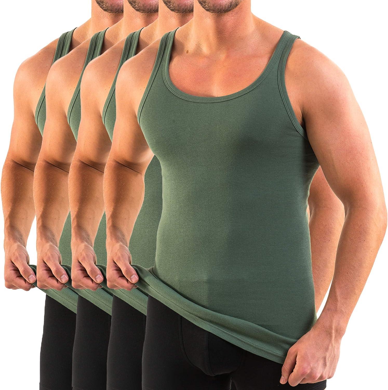 HERMKO 3000 Kit de Cuatro Tank Tops para Hombre Hechos de algod/ón org/ánico 100/% Camiseta de Hombros para Chaqueta Deportiva Camiseta Interior
