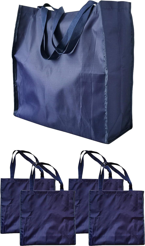 Hilier Lot de 4 sacs /à provisions r/éutilisables en tissu Oxford bleu