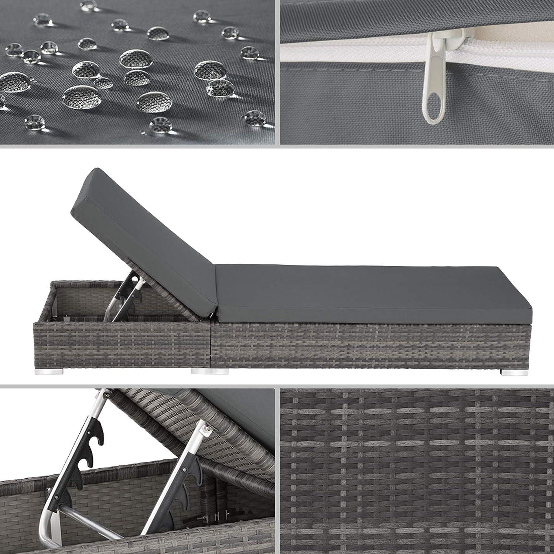 Housse de Protection TecTake 403088 2X Chaise Longue Bain de Soleil Deux Set de Housses Table en Aluminium et R/ésine Tress/ée Gris