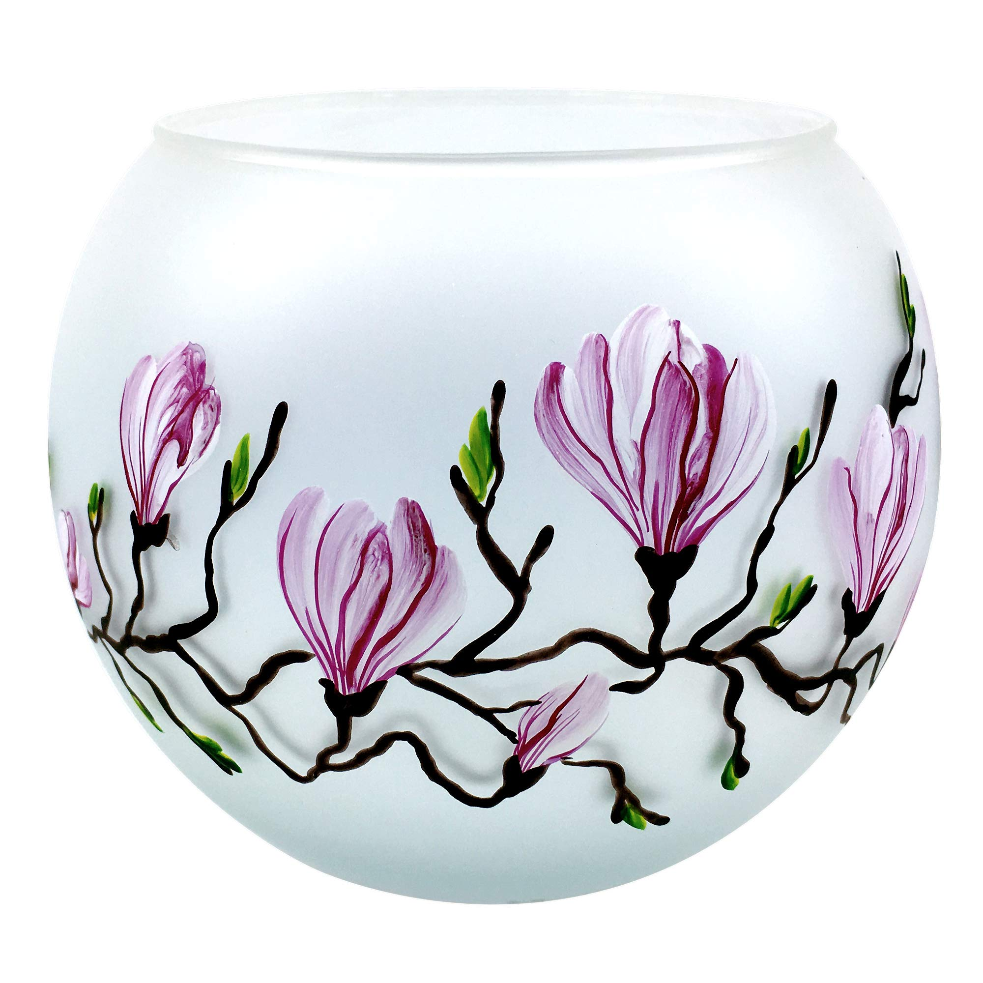 THE JOY TREE Hand-Painted Magnolia Blossom Blown Glass Candle Bowl 4.25 x 3.75 by THE JOY TREE
