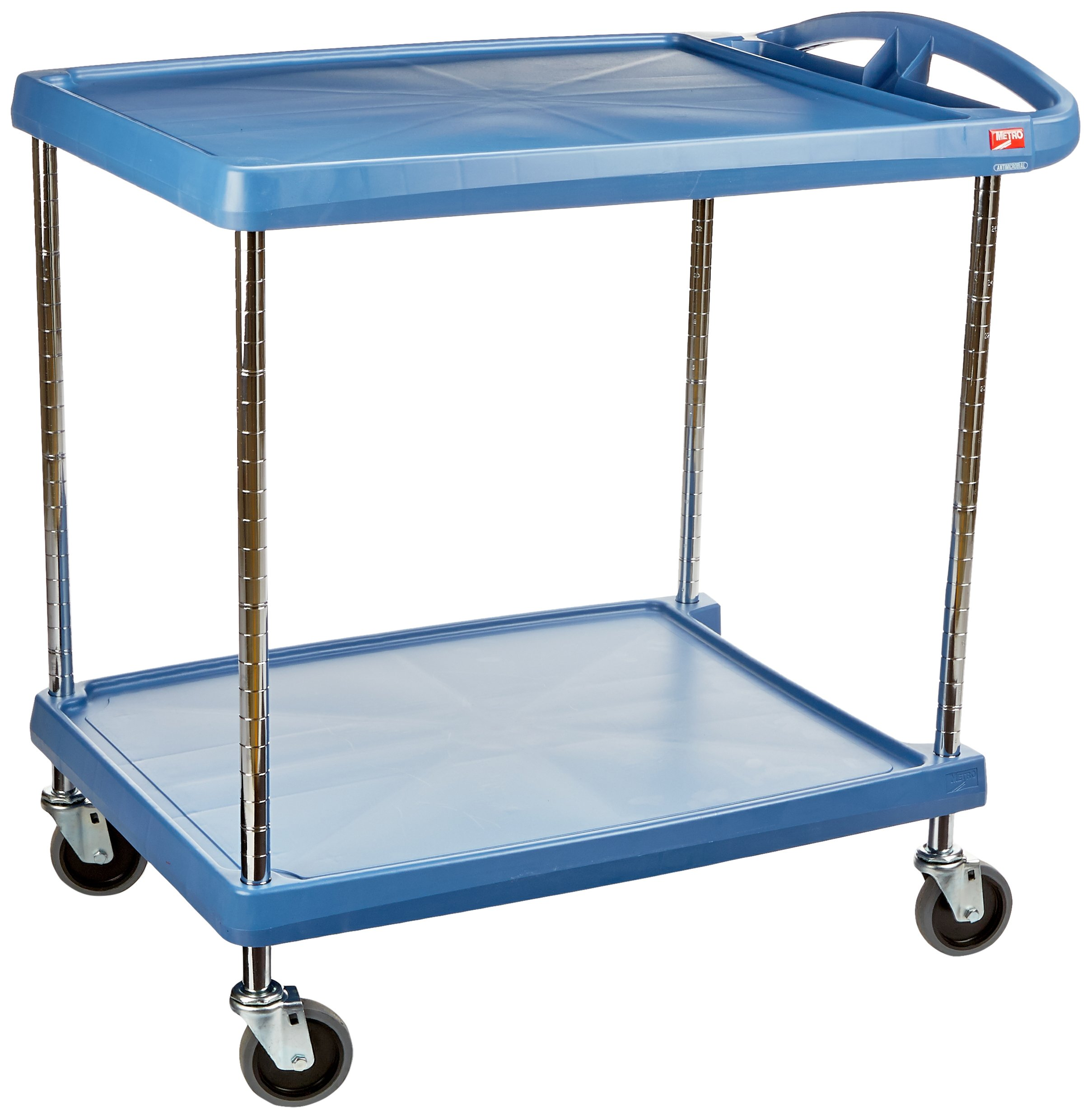 InterMetro Industries MY2030-24BU Mycart Series Blue Polymer Utility Cart with Built-in Microban Antimicrobial Product Protection, 2 Shelf, 35.38 X 34.38 X 23.5-Inch