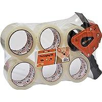 Brackit Duidelijke verpakkingstape met dispenser, 48 mm x 66 m, 6 rollen - sterke zware verpakkingstape voor regelmatig…