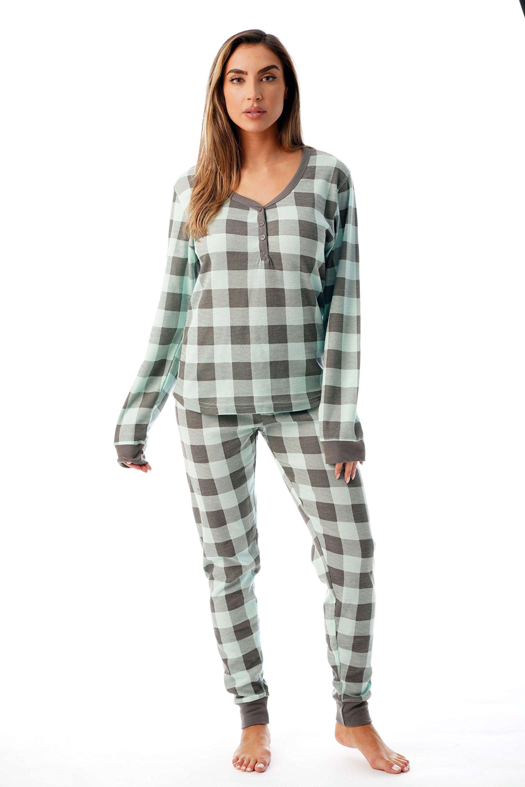 #followme Buffalo Plaid 2 Piece Base Layer Thermal Underwear Set for Women 6372-10195-NEW-MNT-M by #followme