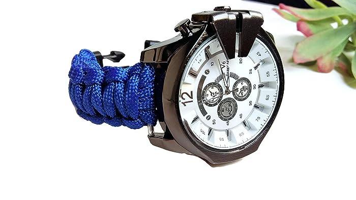 Blue Paracord Strap Wrist Watch Men Nylon Band Bracelet Boyfriend Custom Birthday Gift For Him