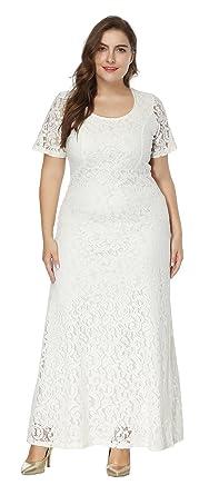 b492df15aa5 EOZY Maxi Longue Robe Dentelle Manche Courte Robe Femme Grande Taille Haute  Cocktail Soirée Blanc 46