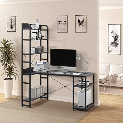 L Shaped Computer Desk with Bookshelf Corner Desks 2 pcs PC Table Set Home  Office Desk with Shelves Bookcase Combo