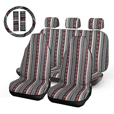 INFANZIA Baja Blanket Car Seat Covers Auto Seat Cover Full Set with 15'' Steering Wheel Cover & Seat Belt Covers Universal Fits Cars, Trucks, SUV, Vans, 10Pcs, Black & Red: Automotive
