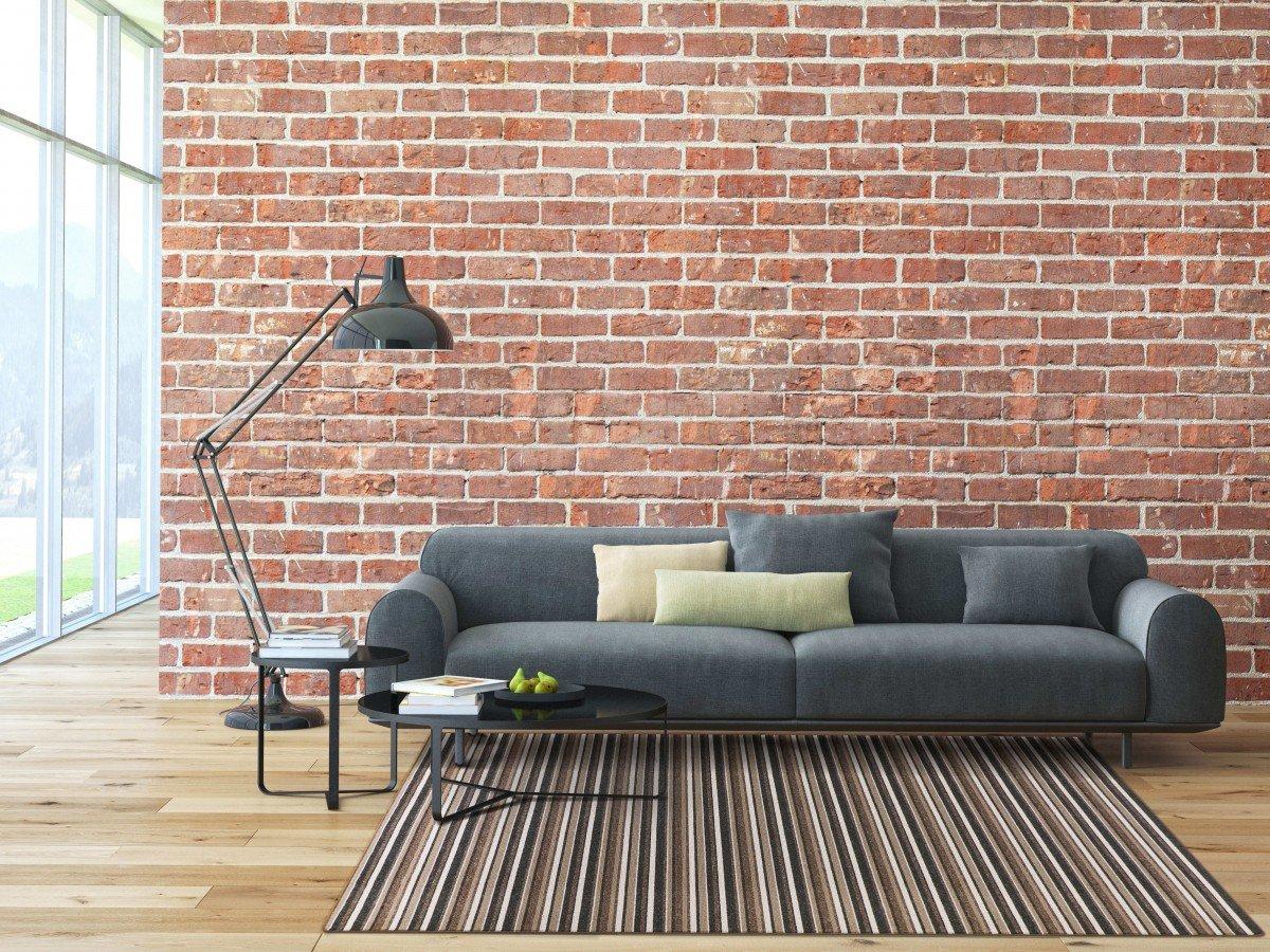 Schlingen Teppich Chipmunk - Farbe: Braun - Grau oder Rot gestreift | hochwertige und strapazierfähige Qualität | Fu