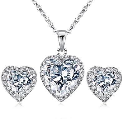 07d5d5cd60b Parure bijoux femme en forme de coeur - Boucles d oreilles et collier en zircone  cubique - Plaqué en or blanc ...