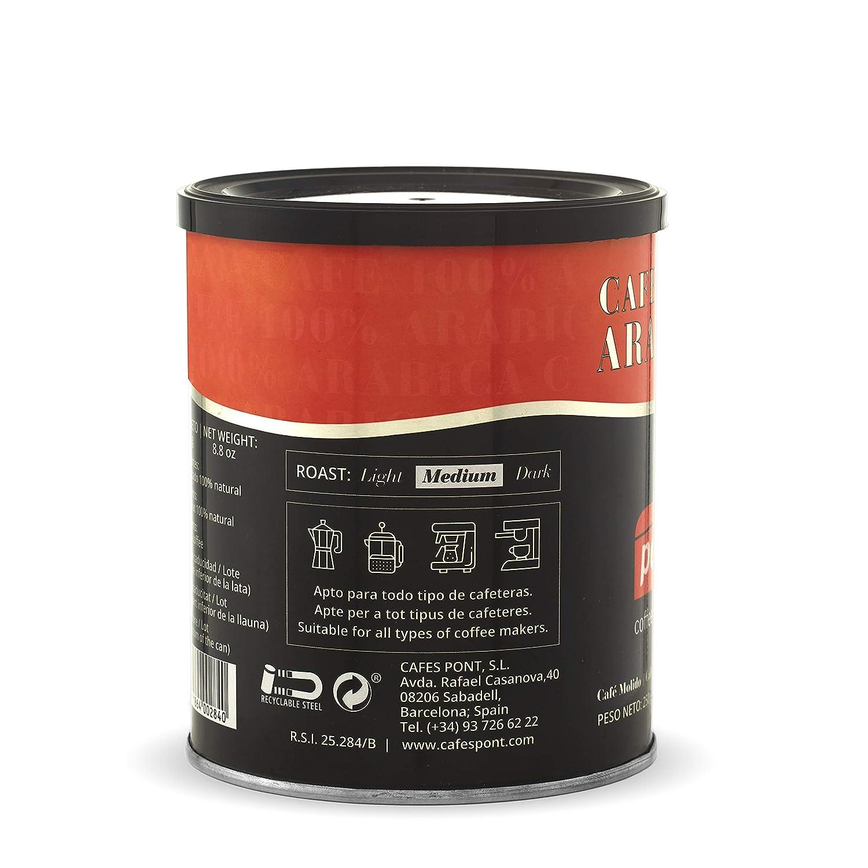 Pont Café Molido Natural 100% Arabica - Paquete de 4 x 250 gr - Total: 1000 gr