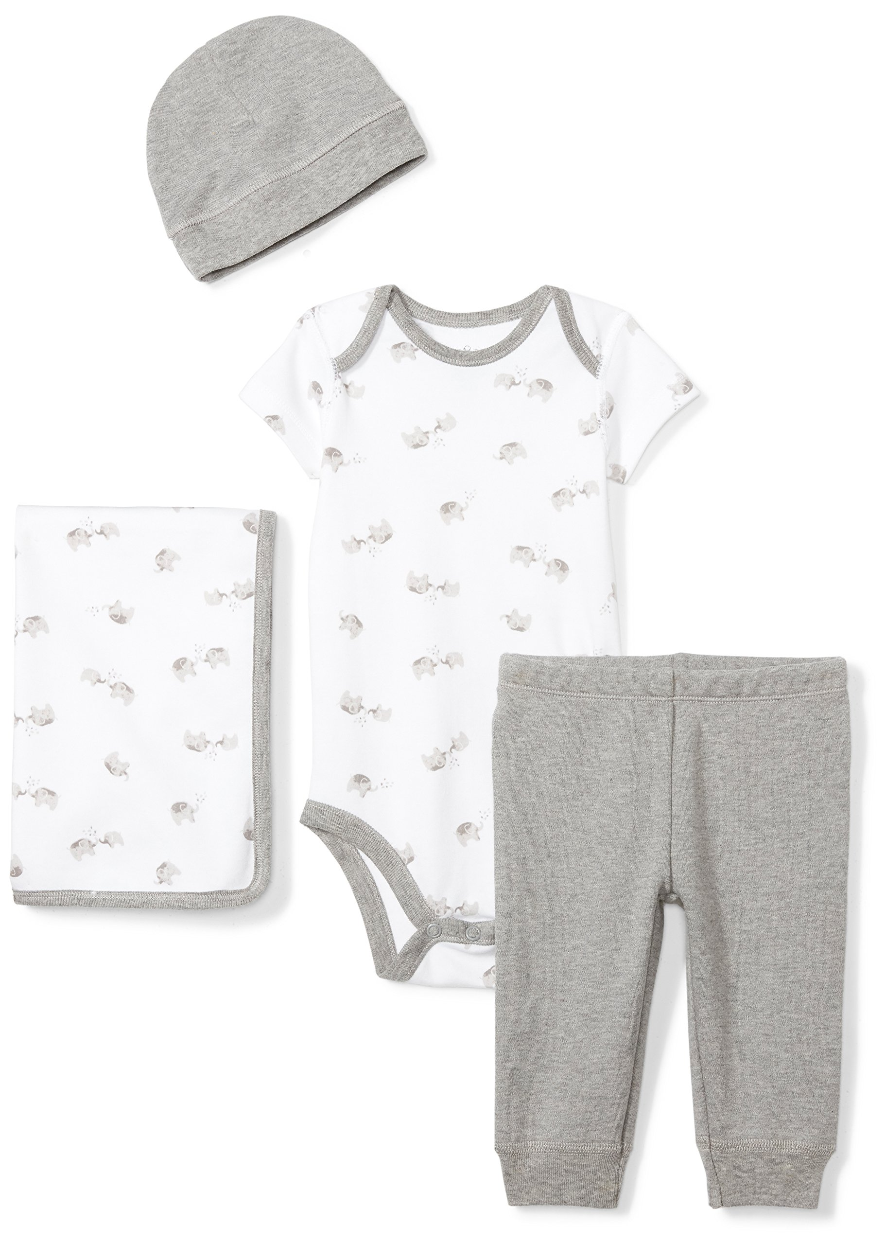 Moon and Back Baby Infant 4-Piece Organic Gift Set, Grey Elephants, 3-6 Months