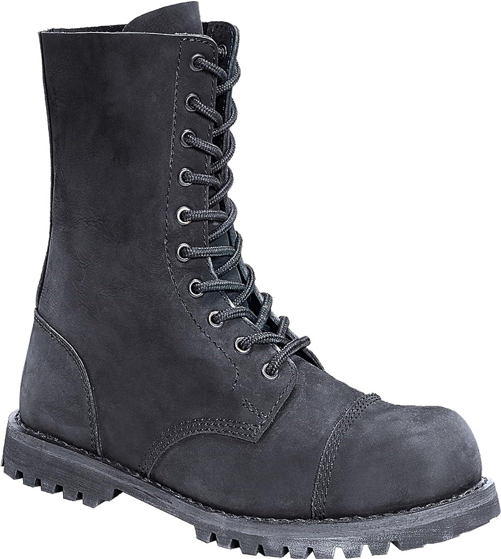 Brandit Phantom Ranger Leder Stiefel/Schuhe schwarz (Stahlkappe) Nubuk Leder 10-loch