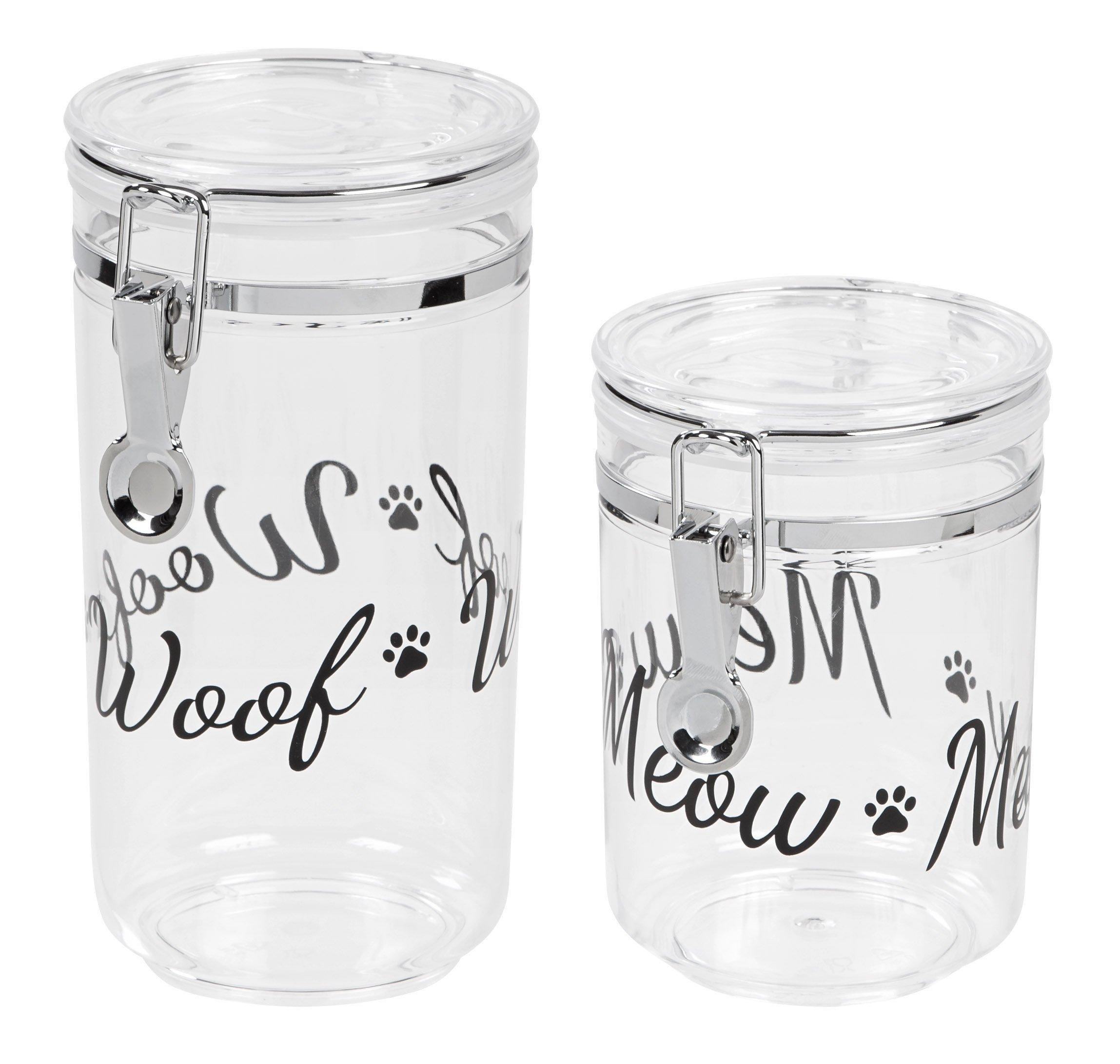 IRIS Acrylic Meow & Woof Pet Treat Jar, Black