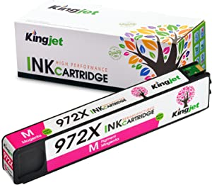 Kingjet Compatible Ink Cartridge Replacement for 972X Work with PageWide Pro 477dn, 477dw, 577dw, 577z, 552dw, 452dn, 452dw Printers, 1 Pack(Magenta)