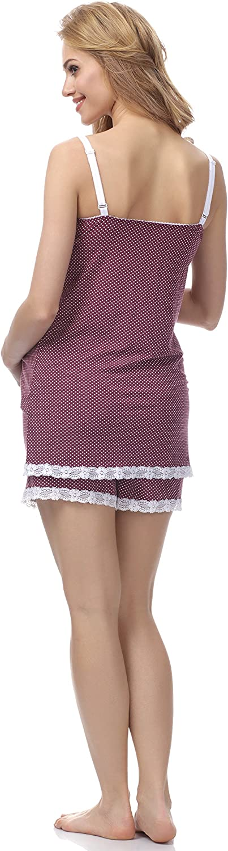 Be Mammy Pijama Premam/á Corto Embarazo Lactancia BE20-144 Morado, L