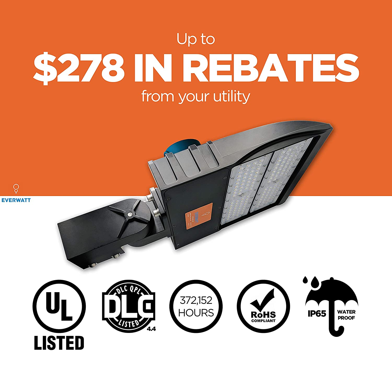 Slip Fit Mount 5000K EverWatt 150W LED Outdoor Parking Lot Light with Photocell Sensor Waterproof 600W Metal-Halide Equivalent Replacement Shoe Box Pole Lights 20500 Lm Surge Protector EW-SB-06-150W-30-C-T3M-A1-50K