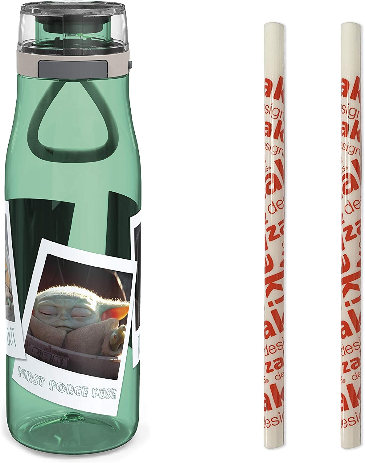 Zak Designs Star Wars The Mandalorian Plastic Water Bottle with Push Button Action, Locking Lid, and Portable Carry Loop, Includes 2 Reusable Straws, (25oz, Baby Yoda/The Child, BPA-Free)