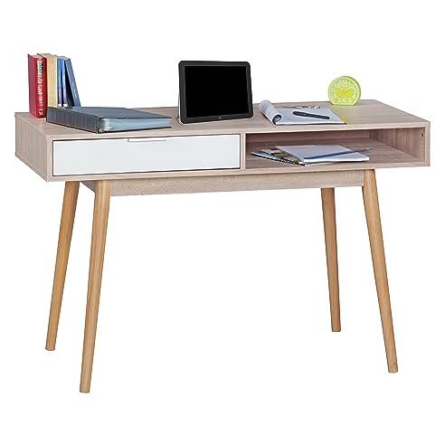 WOHNLING Schreibtisch Design Tisch Bürotisch Mit Schublade Sonoma/Weiß  Computertisch Mit Föcher Für Ablage 120