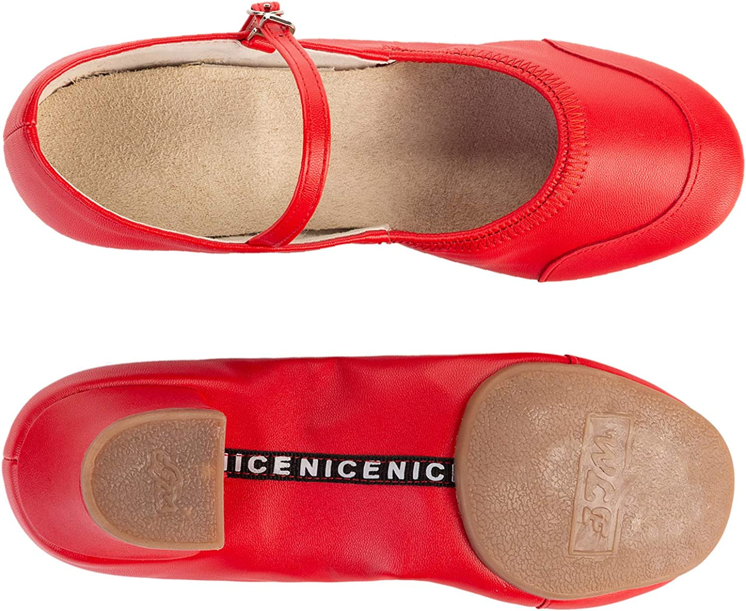 FEETCITY Girls Soft-Soled Latin Ballroom Dance Shoes with Leather Strap Red 3 Little Kid