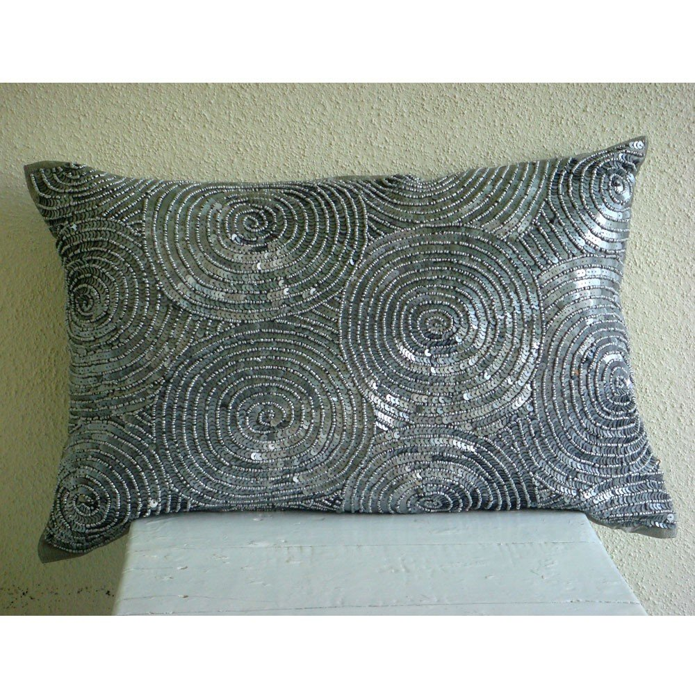 Amazon.com: Designer Silver Lumbar Pillow Cover, Spiral Sequins ...