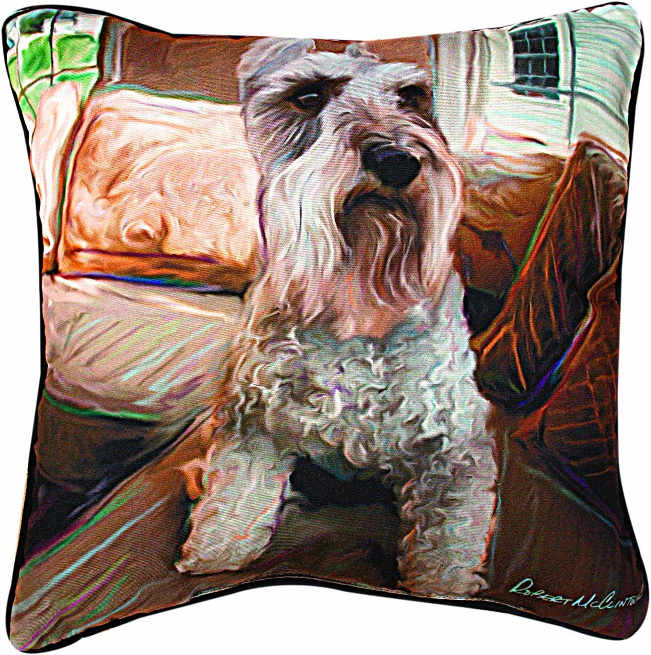 Manual Schnauzer Paws and Whiskers Decorative Square Pillow, 18-Inch