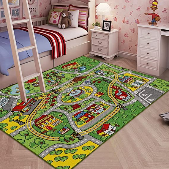 Jackson Kid Rug Carpet Playmat For Toy Cars And Train Huge Large 52 X 74 Play Area Rug With Rubber Backing Kids Race Track Rug For Toddlers Baby And Children Playing And