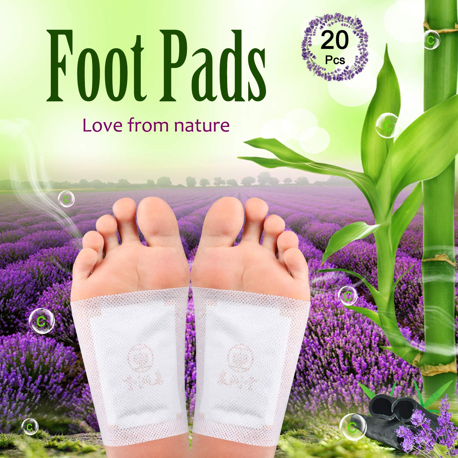Foot Pads - (20pcs) Natural Plant Foot Care Bamboo and lavender Cleansing Mask Foot Patches For Feet Health Care Organic Sleep Better & Anti-Stress Relief